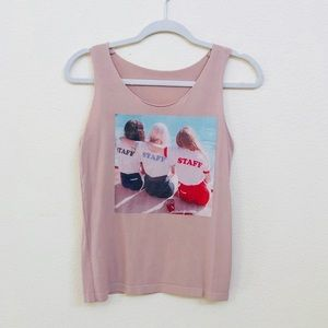 Tops - dusty pink graphic 'staff' top